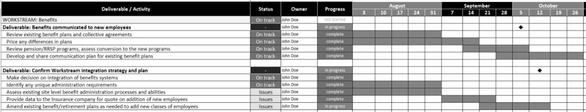 Post Merger Integration Plan