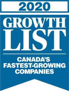 Growth List 2020 logo - blue pendant banner with text that says Canada's Fastest-Growing Companies