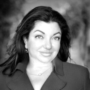 A black and white photo of Hiba Abdou, Head of Technology and Automation at The Burnie Group