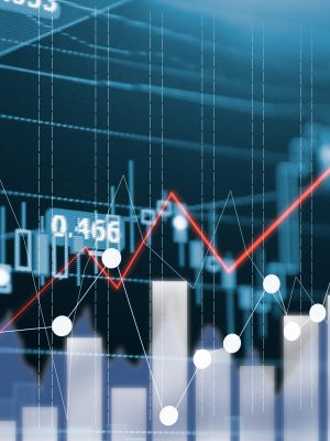 Digital data indicator analysis on financial market trade chart on LED. Concept Stock data trade. Double exposure style