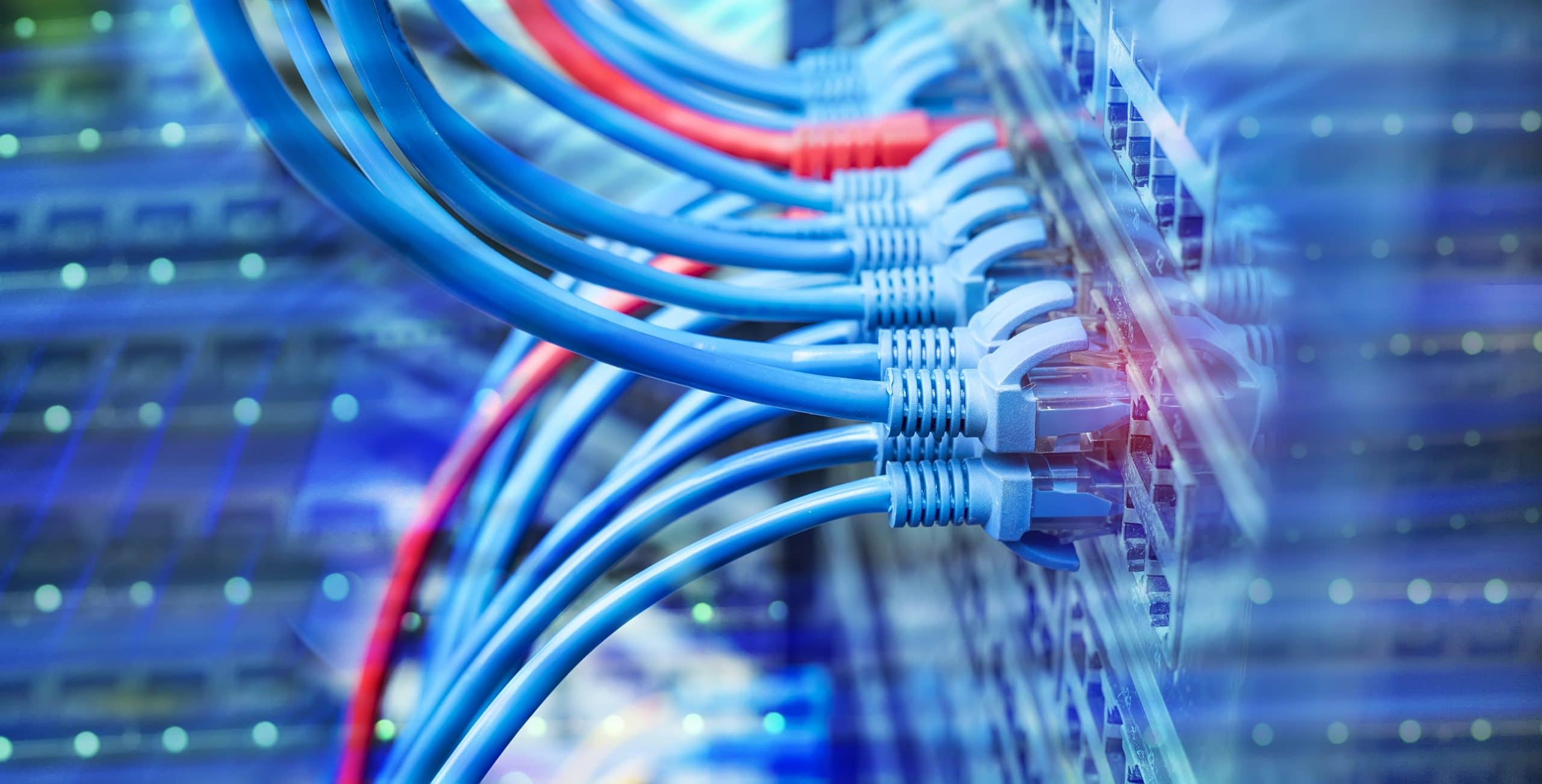 IT infrastructure - Network cables in switch and firewall in cloud computing data center server rack