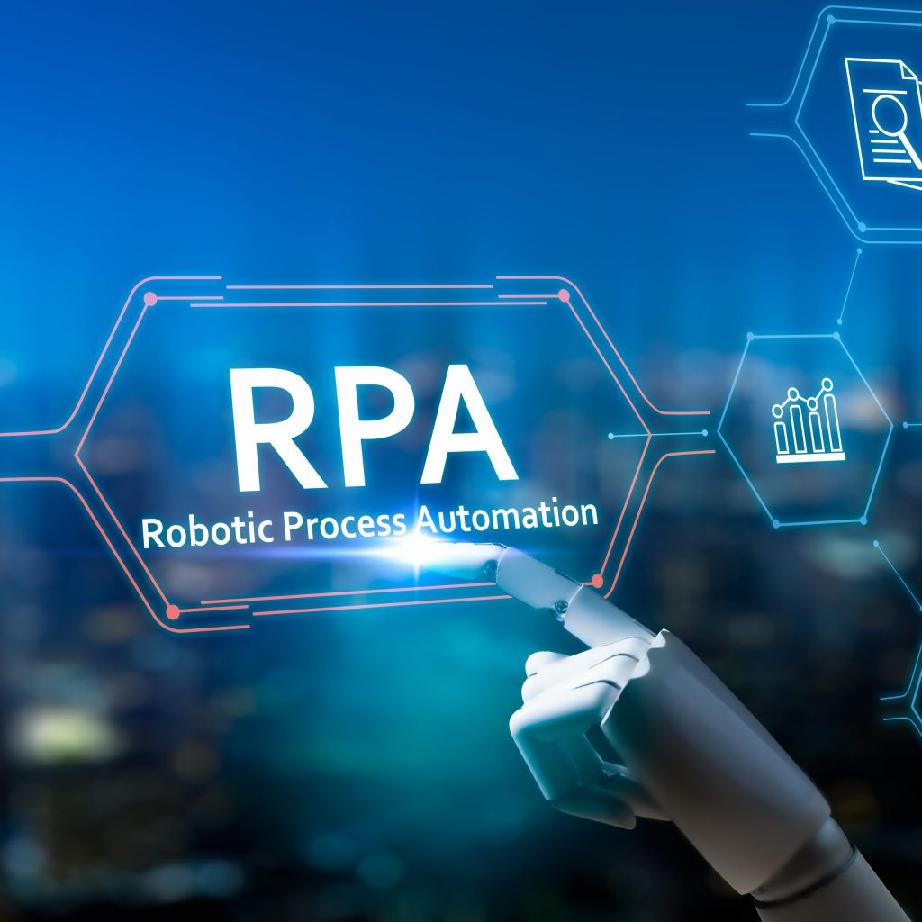 RPA (Robotic Process Automation) Robot finger on blurred background using digital RPA interface.