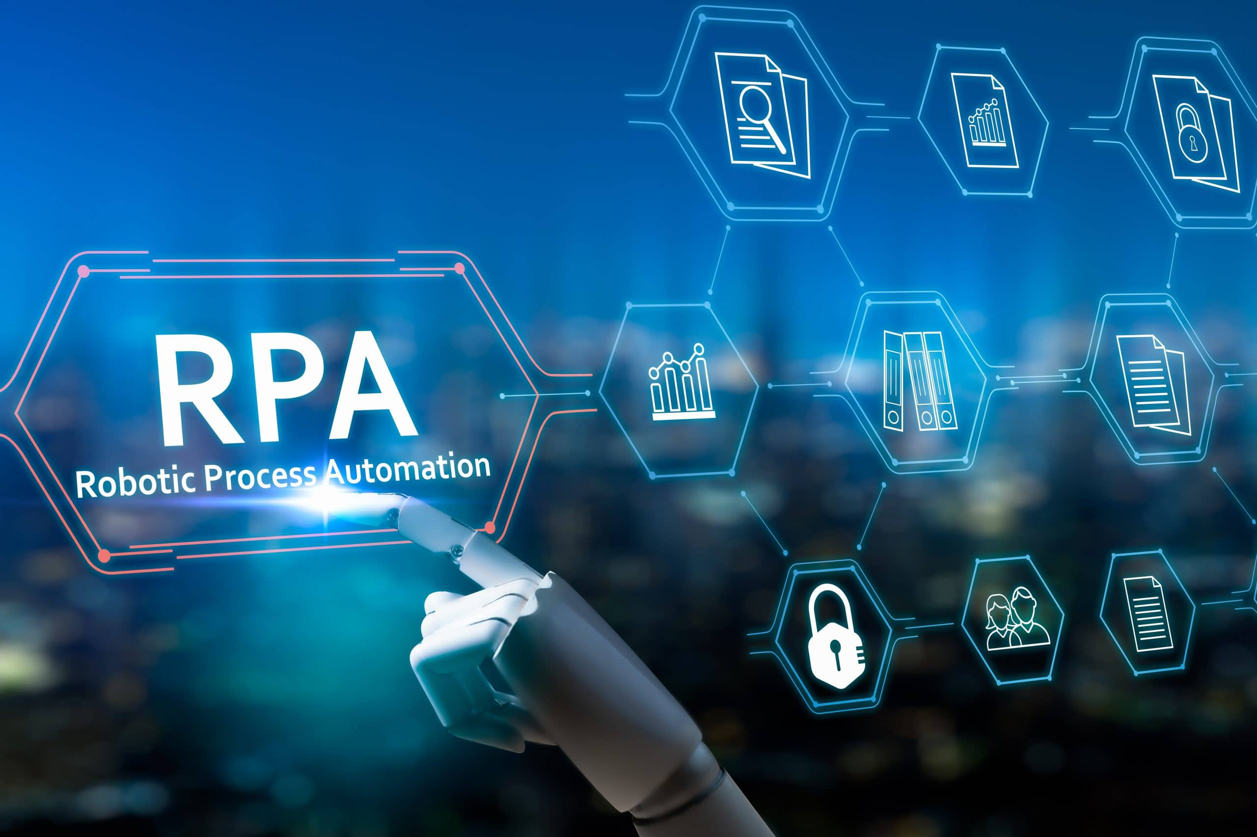 RPA (Robotic Process Automation system),Artificial intelligence , Robot finger,robo advisor ,Big data and business concept.Robot finger on blurred background using digital RPA interface.